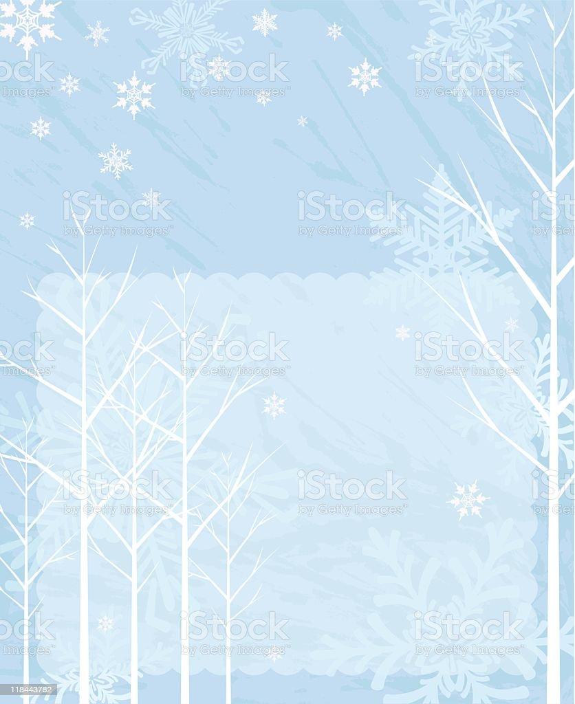 Retro Winter Trees Background vector art illustration