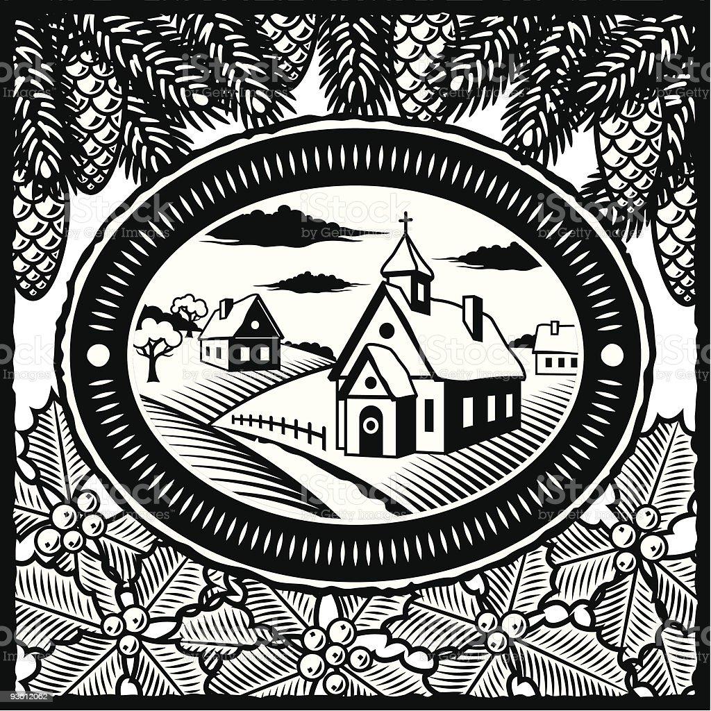 Retro winter village black and white royalty-free stock vector art