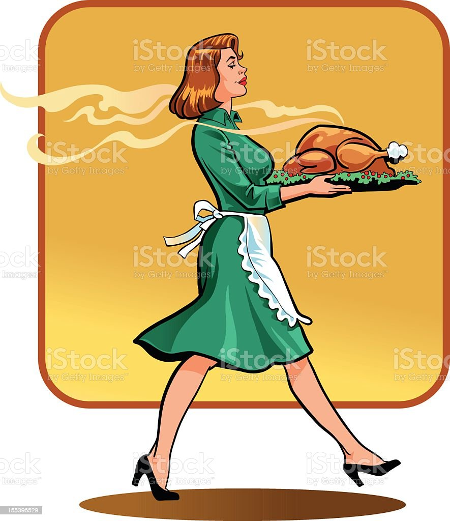 Young Retro Style Woman with Thanksgiving Dinner vector art illustration