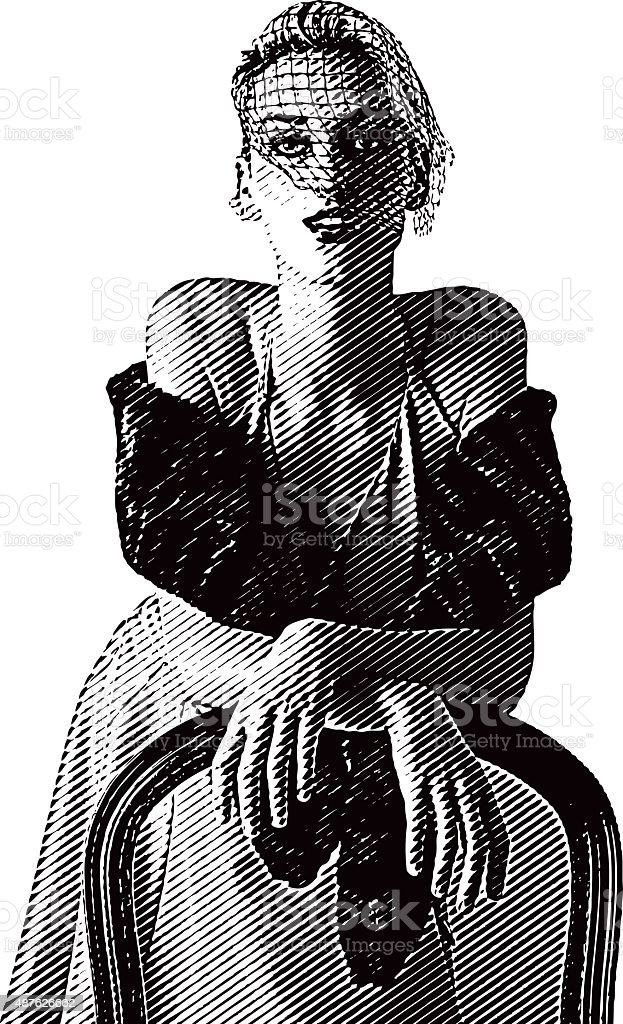 Retro Woman Dressed for Nightlife vector art illustration
