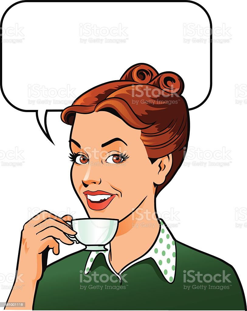 Retro Woman Drinking Coffee - Holding Coffee Cup vector art illustration