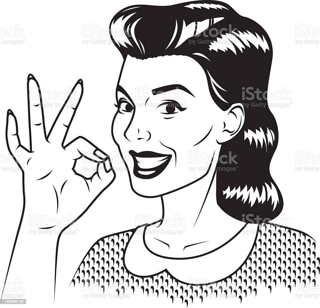 Retro Woman Giving 'OK' Sign royalty-free stock vector art
