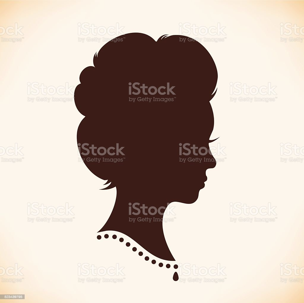 Retro woman head silhouette vector art illustration