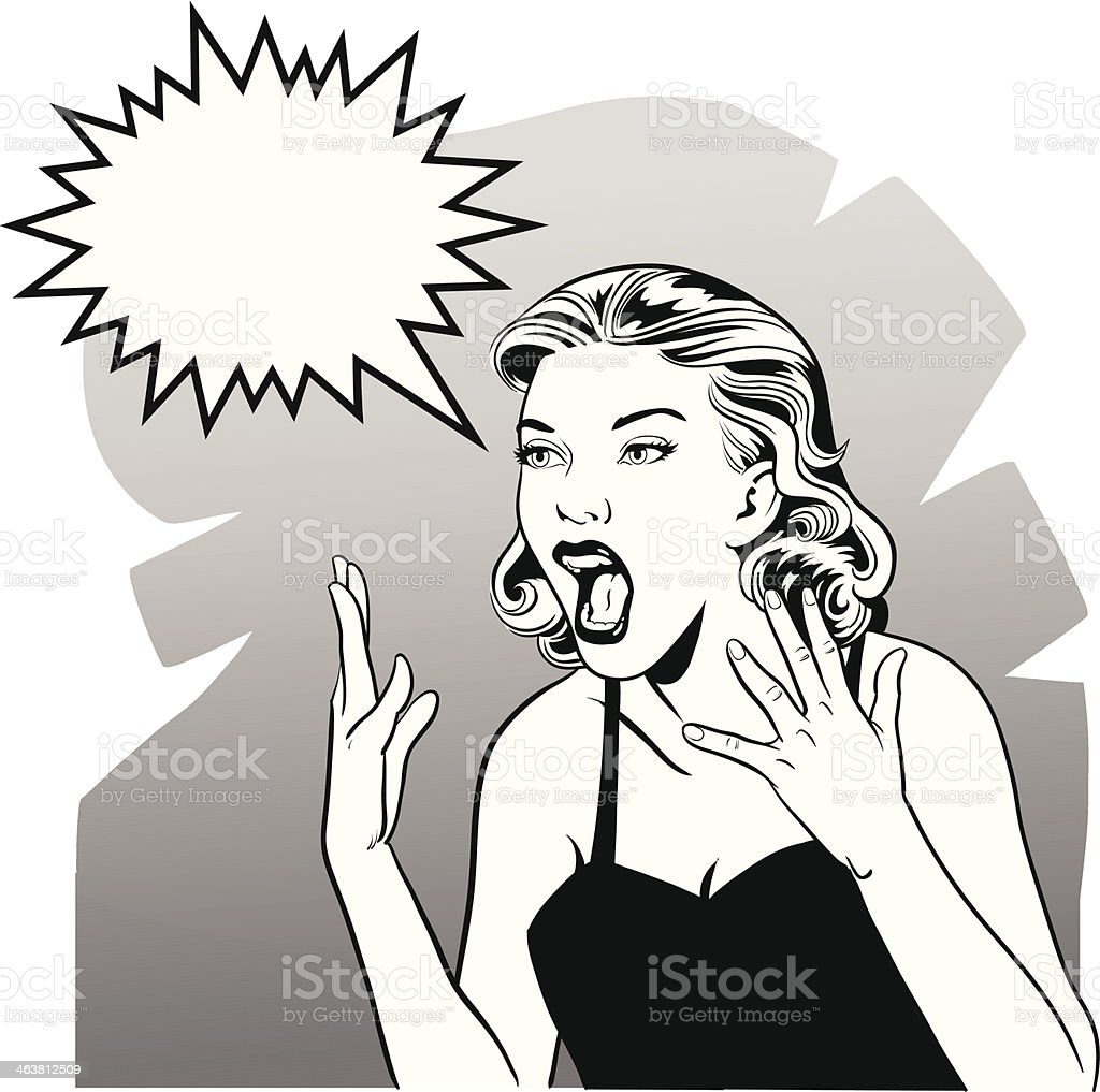 OMG Retro Woman in Black and White royalty-free stock vector art