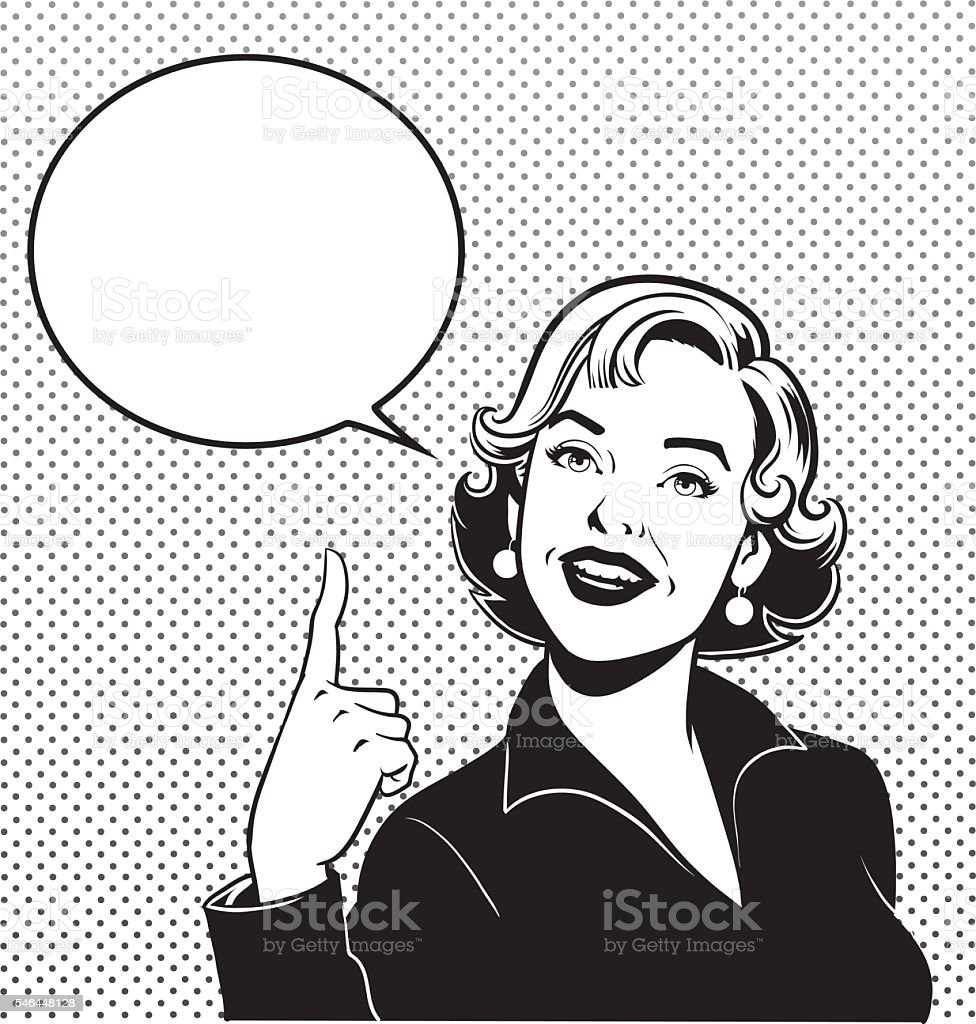 Retro Woman Pointing Up Her Index Finger vector art illustration