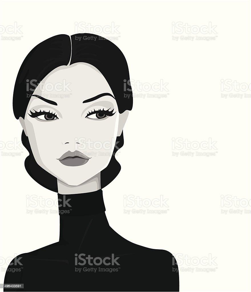 portrait de femme rétro stock vecteur libres de droits libre de droits