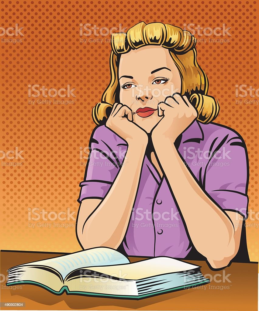 Retro Woman Reading Book and Daydreaming vector art illustration