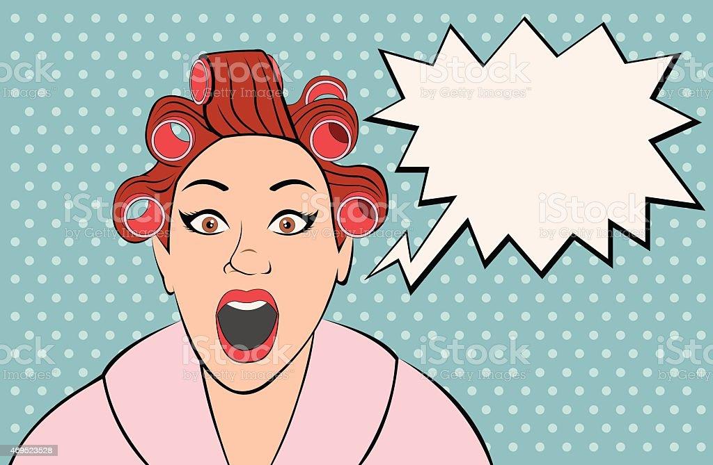 retro woman screaming vector art illustration