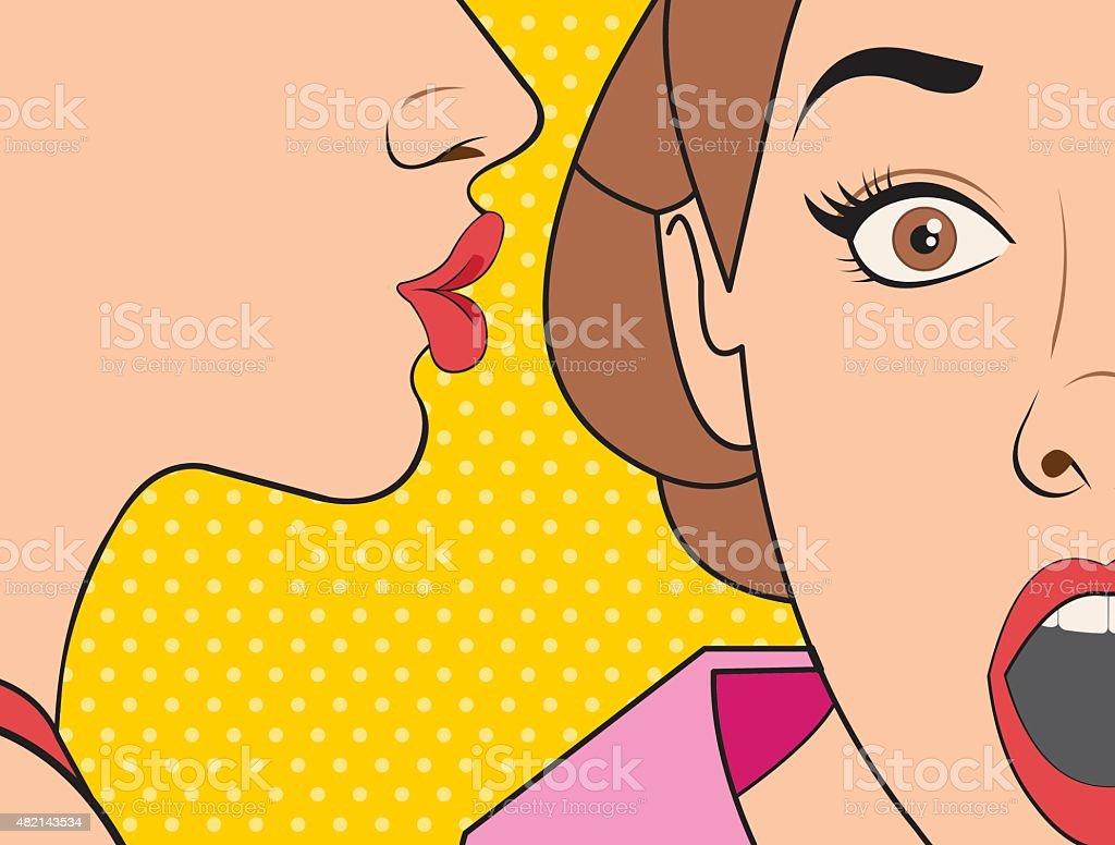 retro woman whispering a gossip vector art illustration