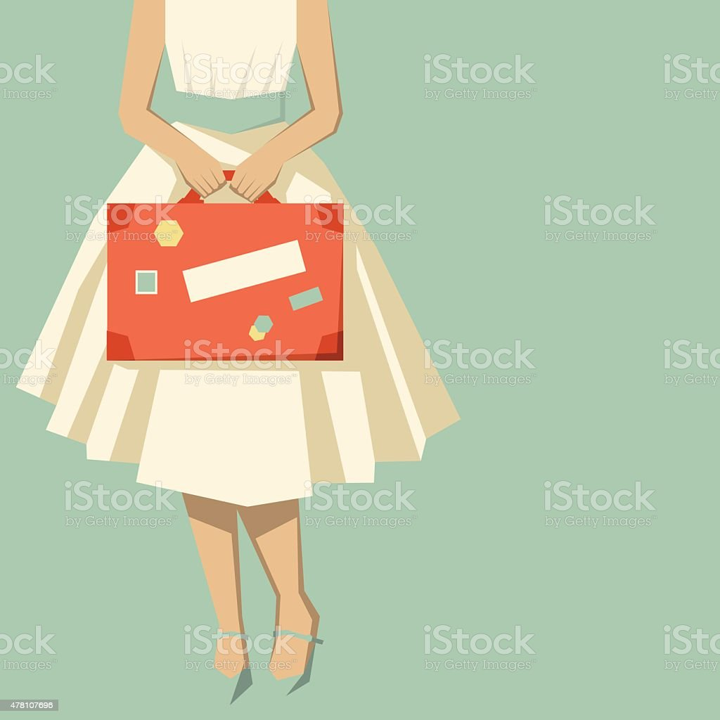 Retro woman with a suitcase ready to travel vector art illustration
