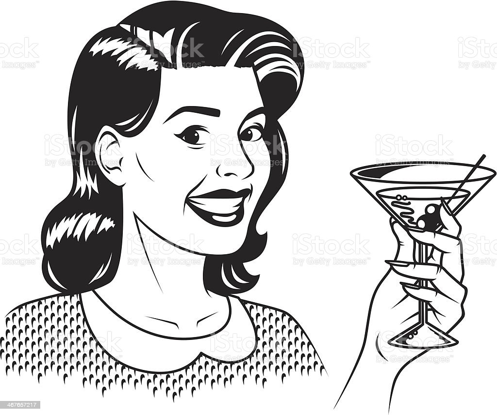Retro Woman With Martini royalty-free stock vector art