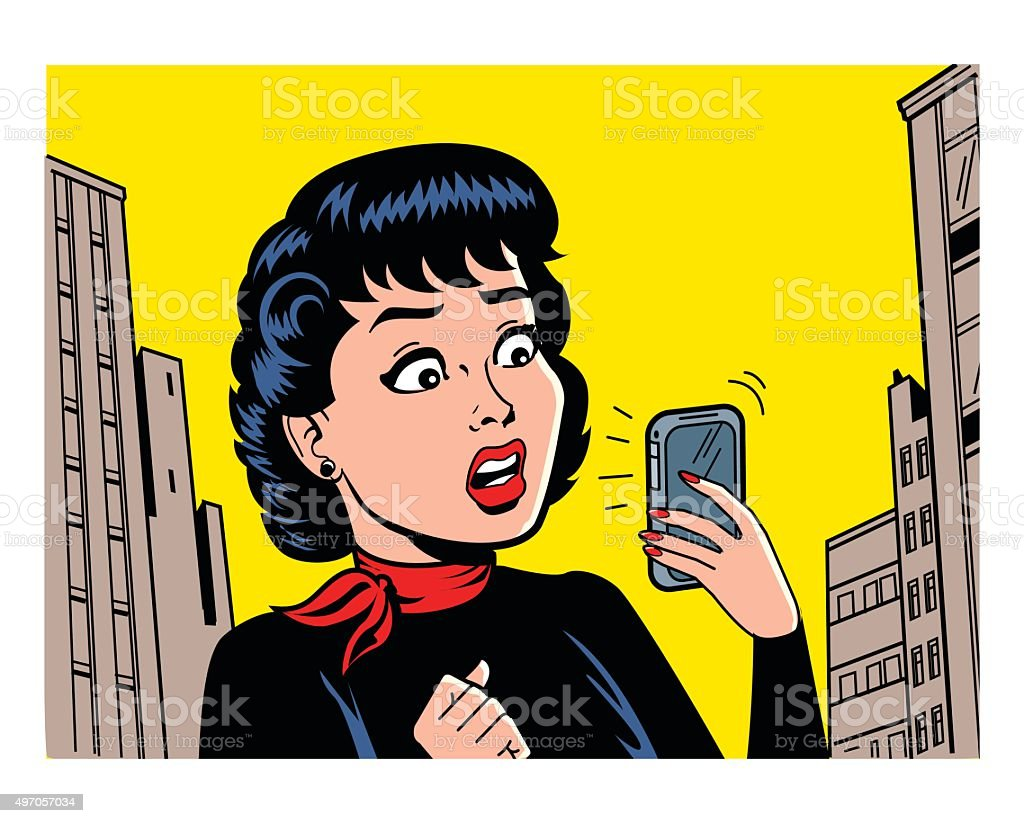 Retro Woman With Phone vector art illustration