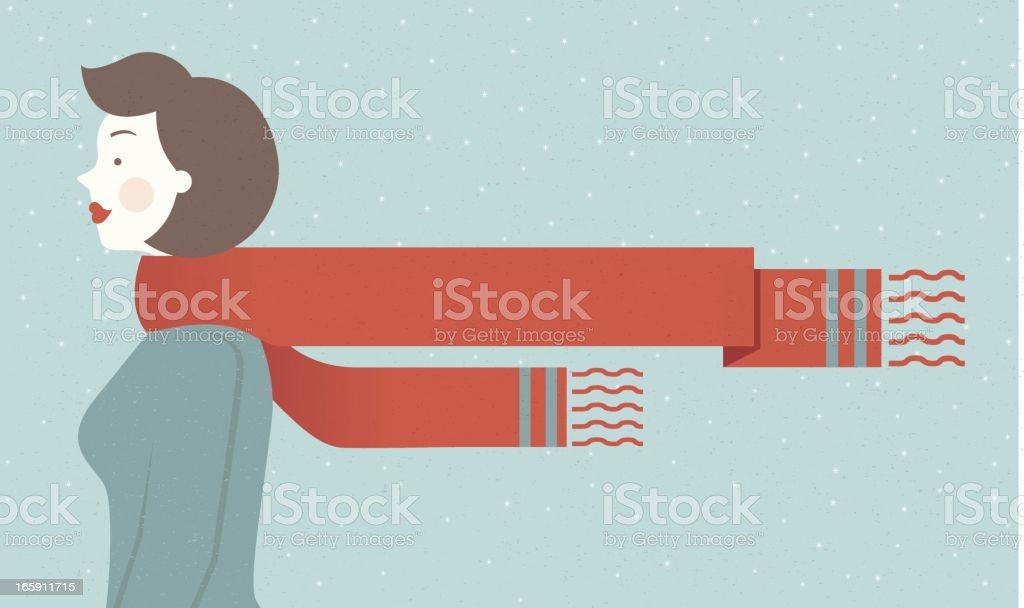 Retro Woman with Scarf Banner vector art illustration