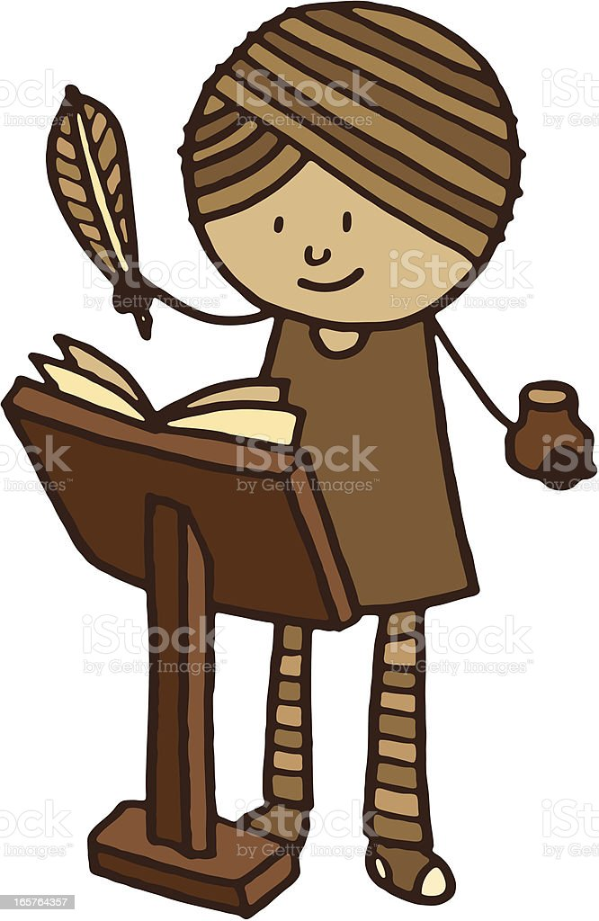 Retro woman with writing quill and ink royalty-free stock vector art