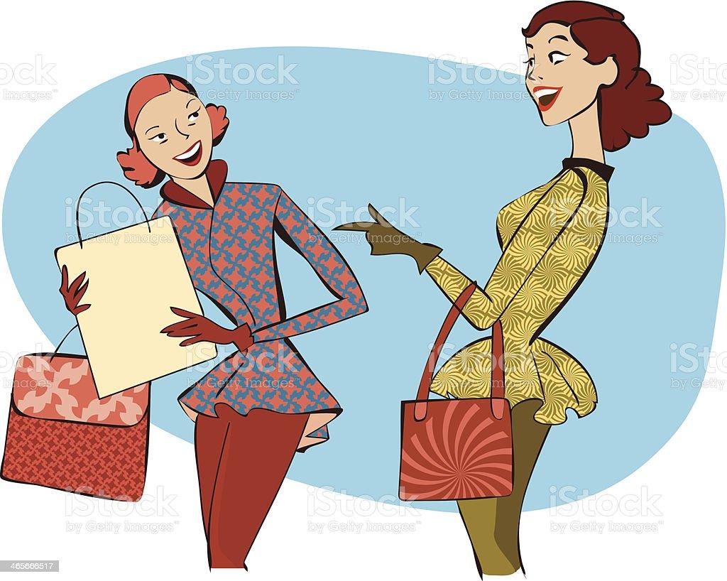 Retro women shopping royalty-free stock vector art