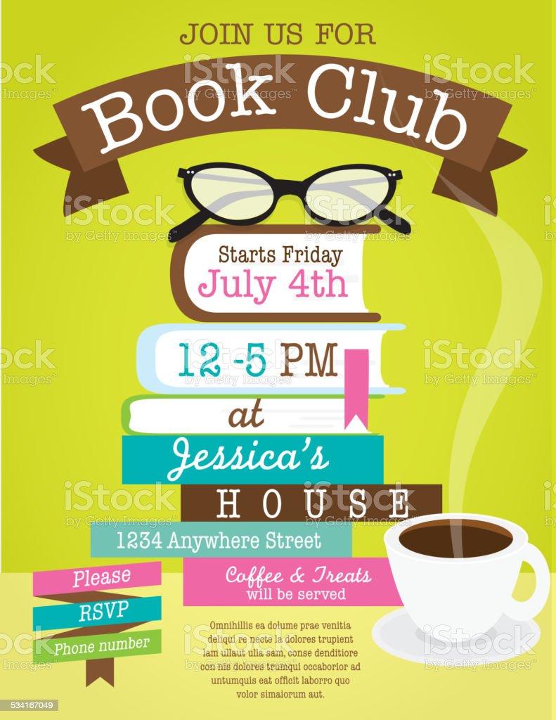Retro Women's book club event invitation design template vector art illustration