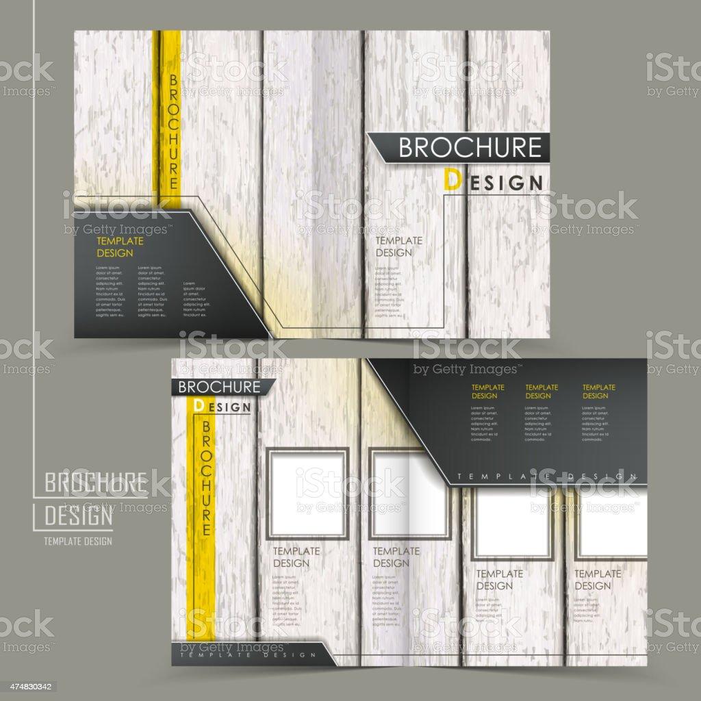 Retro Wood Grain Halffold Brochure Template stock vector art – Retro Brochure Template