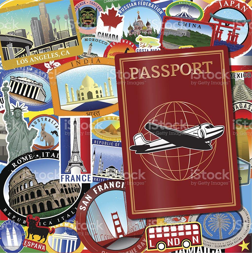 Retro world Passport royalty-free stock vector art