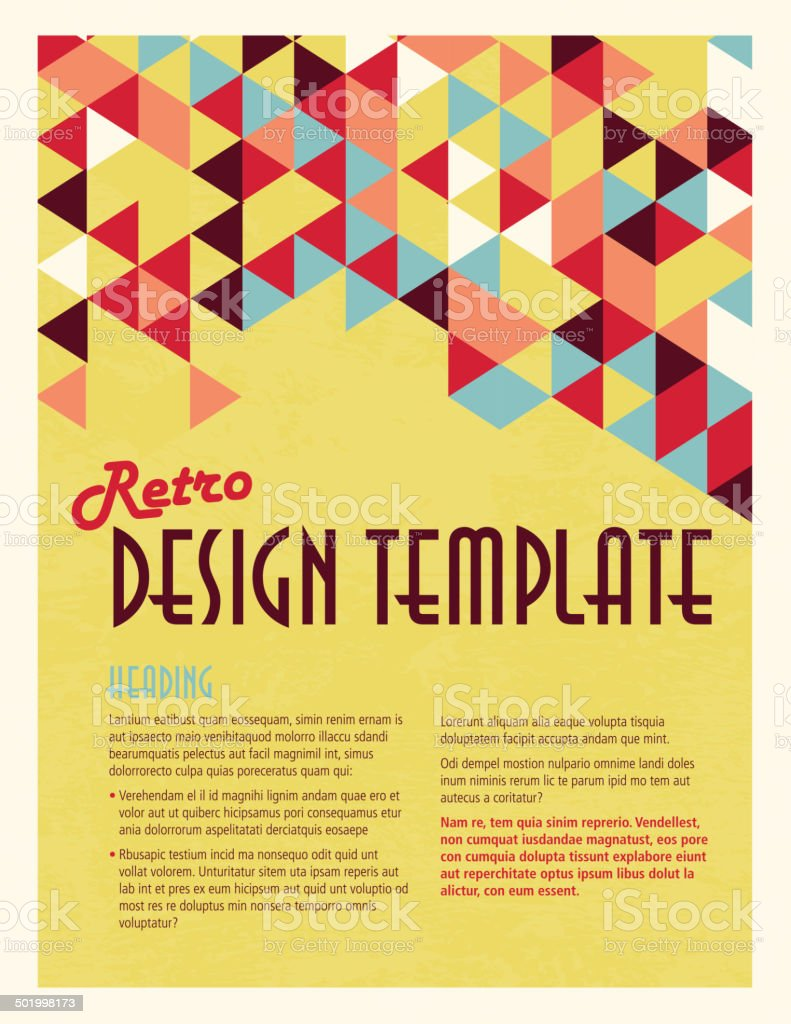 Retro Presentation template with sample text layout vector art illustration
