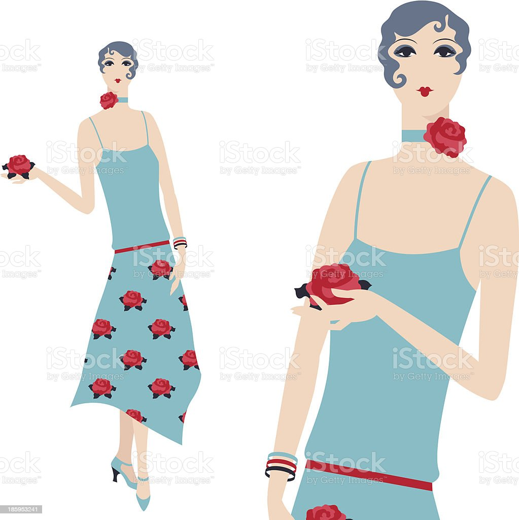 Retro young beautiful girl of 1920s style. royalty-free stock vector art