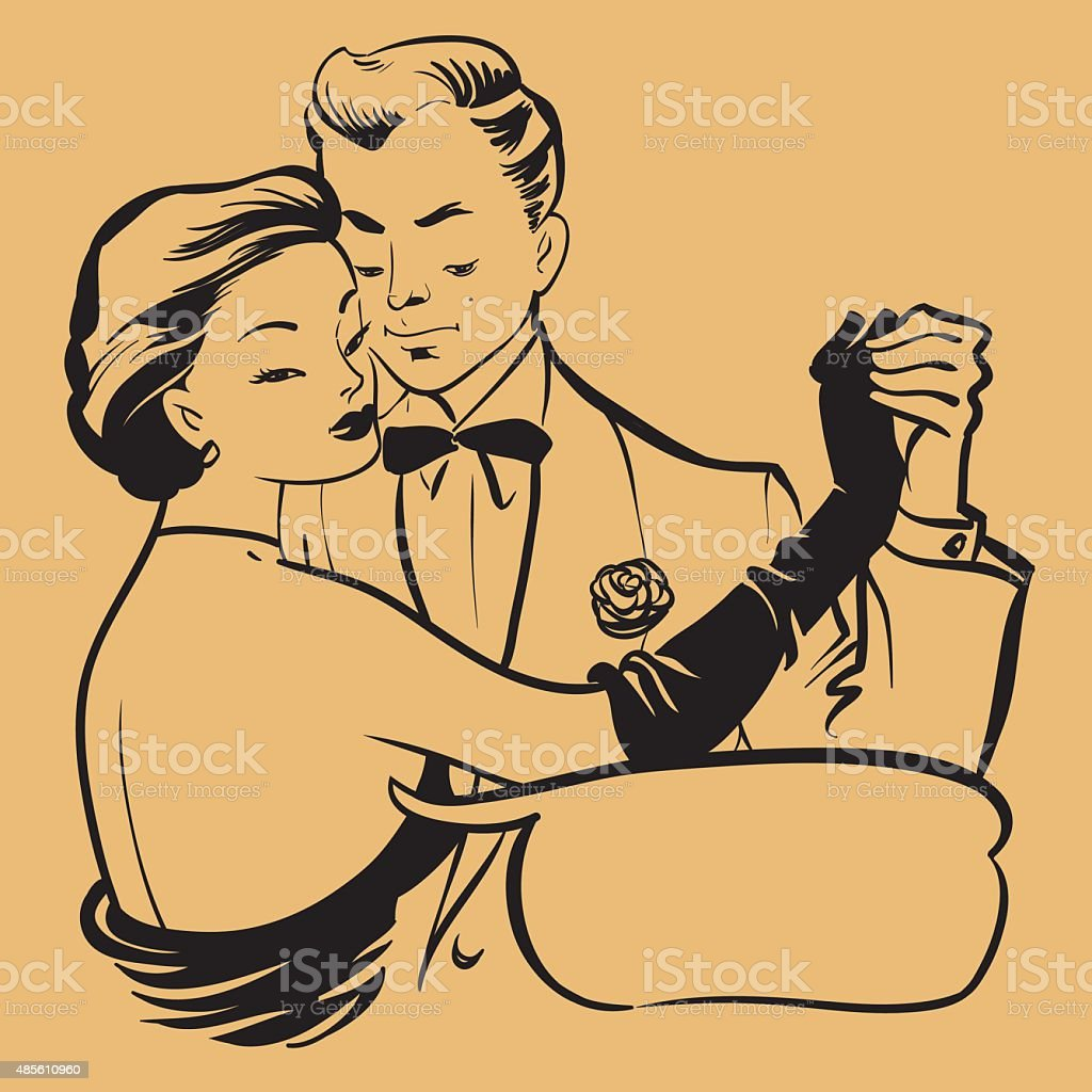 Retro Young Couple Dancing vector art illustration