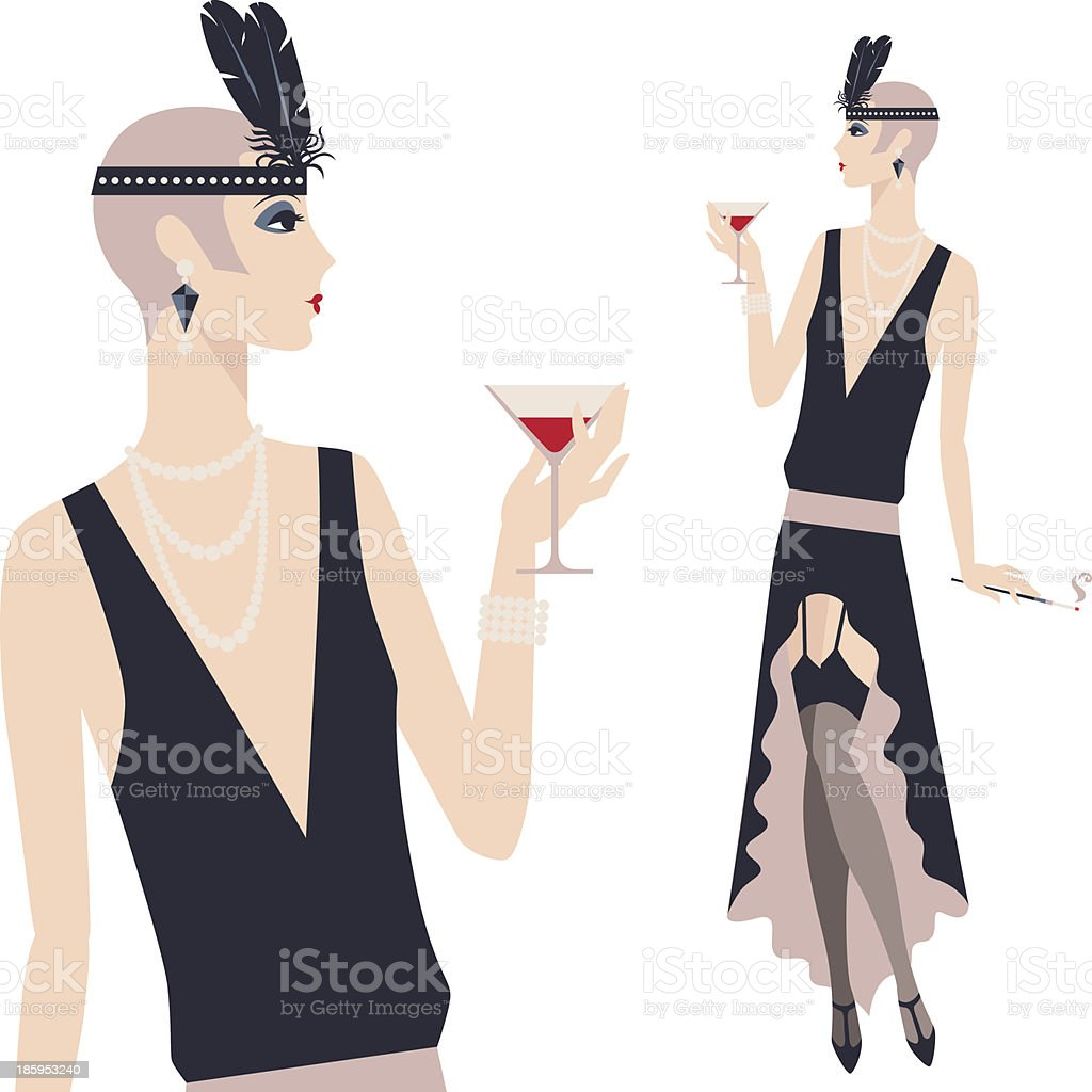 Retro young flapper of the 1920s royalty-free stock vector art
