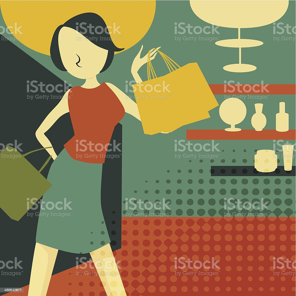 retro young woman at shopping royalty-free stock vector art