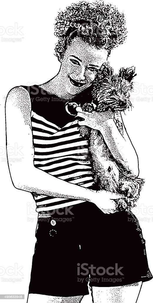 Retro Young Woman Holding A Cute Lap Dog vector art illustration