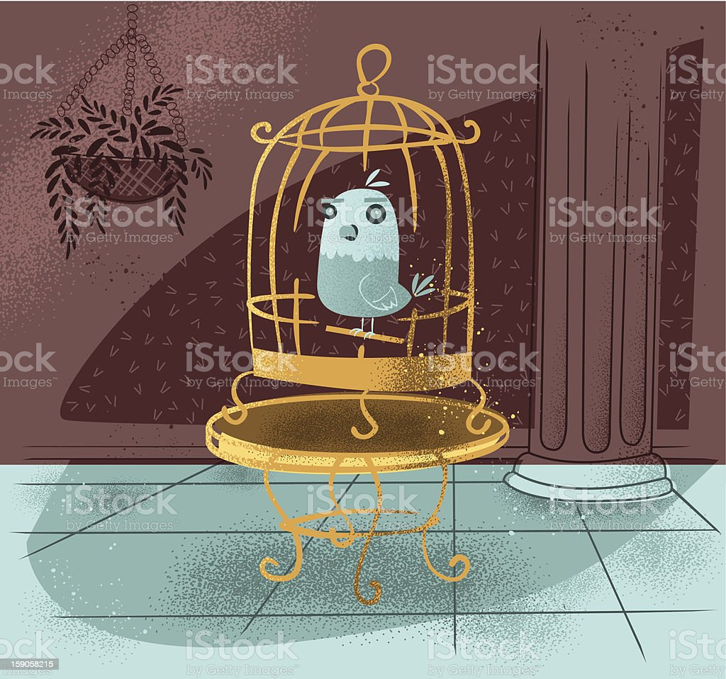 Retro-Modern Bird in Cage vector art illustration