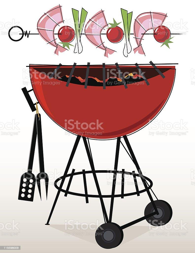 Retro-style BBQ Shrimp Kebabs vector art illustration