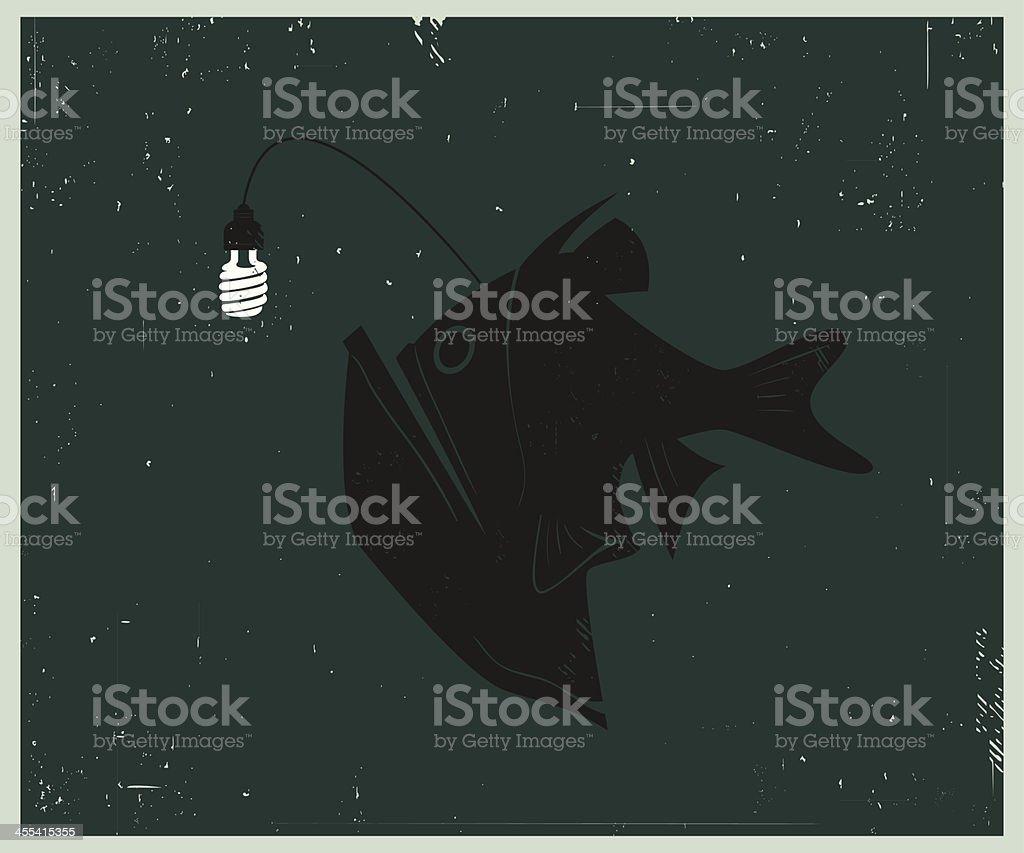 Retro-style illustration of Anglerfish with Compact Fluorescent Lightbulb vector art illustration