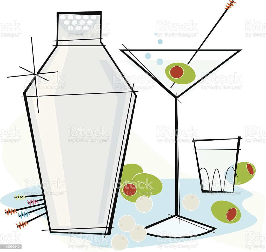 Retro-style Martini vector art illustration