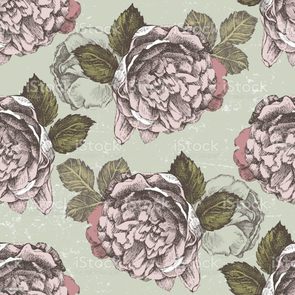 Retro-styled floral seamless royalty-free stock vector art