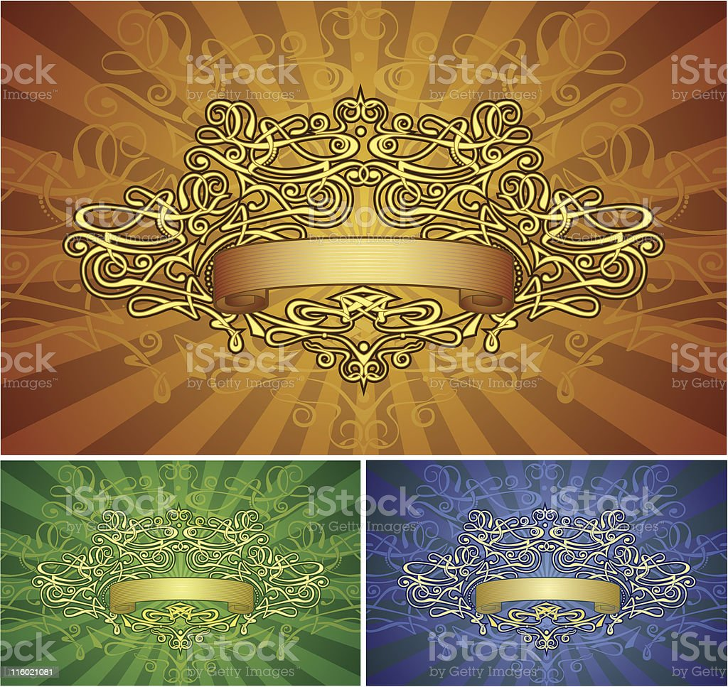 Retro-styled frame with banner & background royalty-free stock vector art