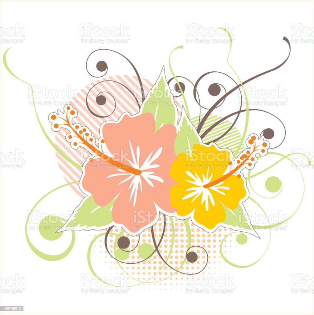retro-styled hibiscus icon royalty-free stock vector art