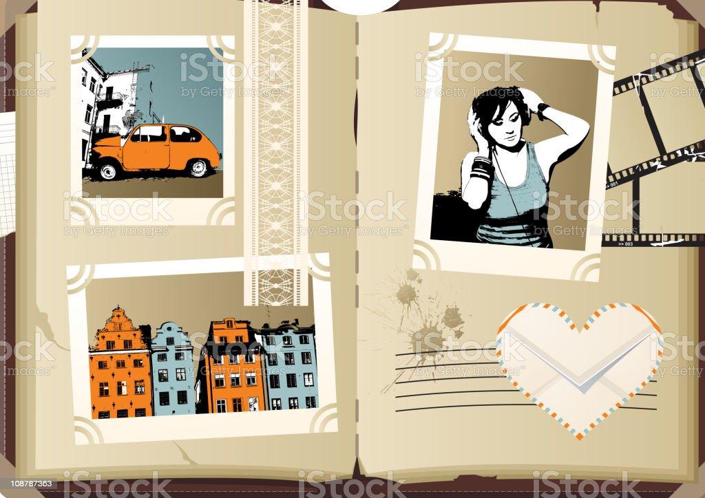 retro-styled photoalbum vector art illustration