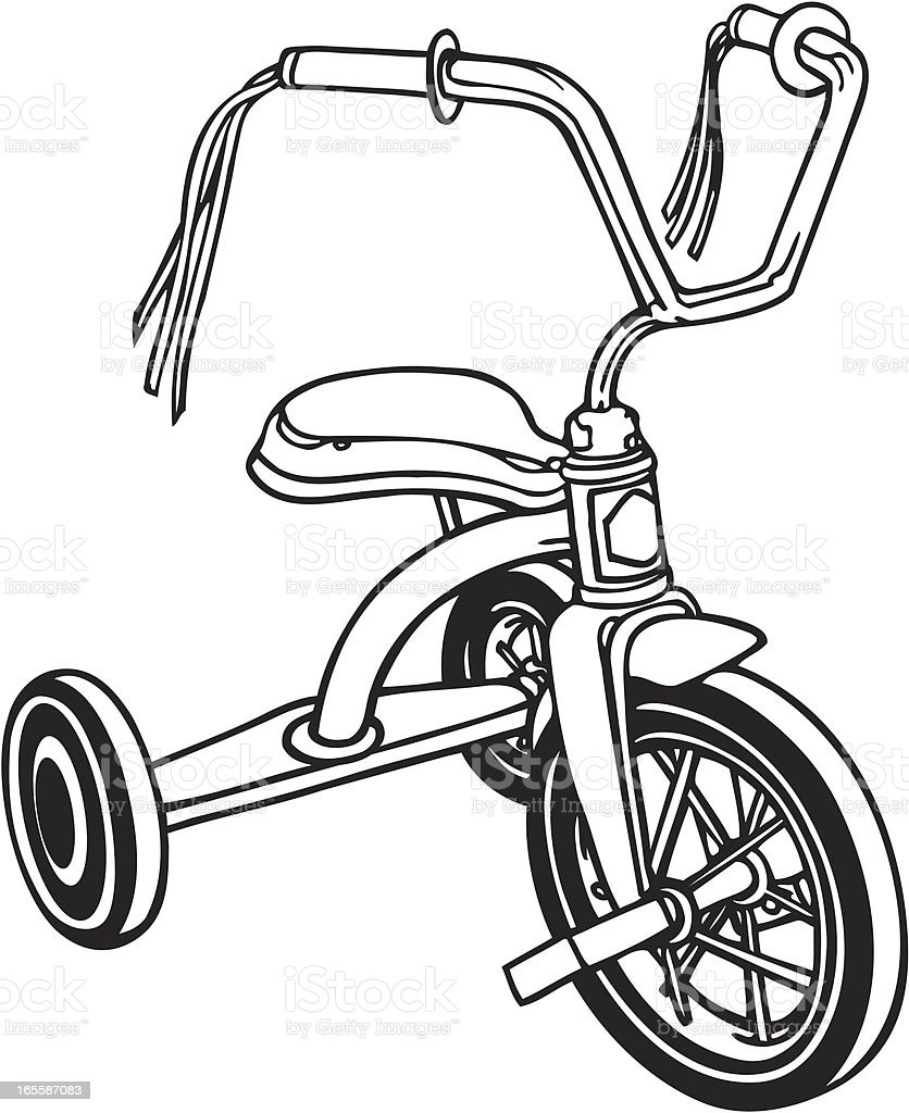Retro-Tricycle in B&W royalty-free stock vector art