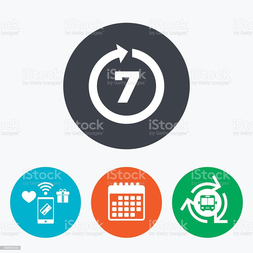 Return of goods within 7 days sign icon. vector art illustration