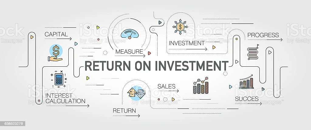 Return on Investment banner and icons vector art illustration