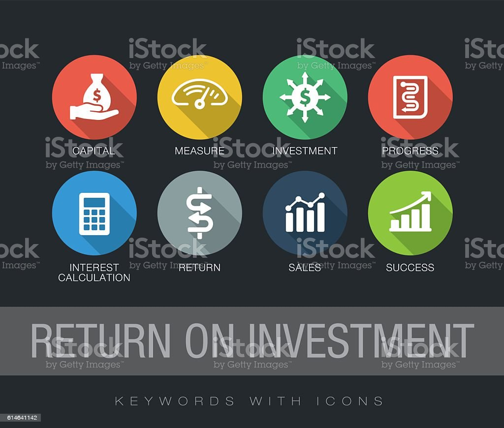 Return on Investment keywords with icons vector art illustration
