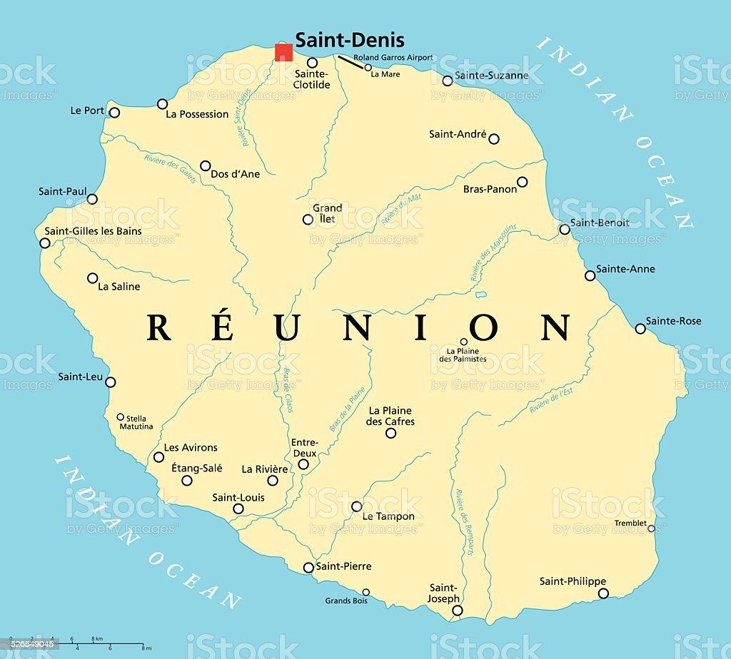 Reunion Political Map vector art illustration
