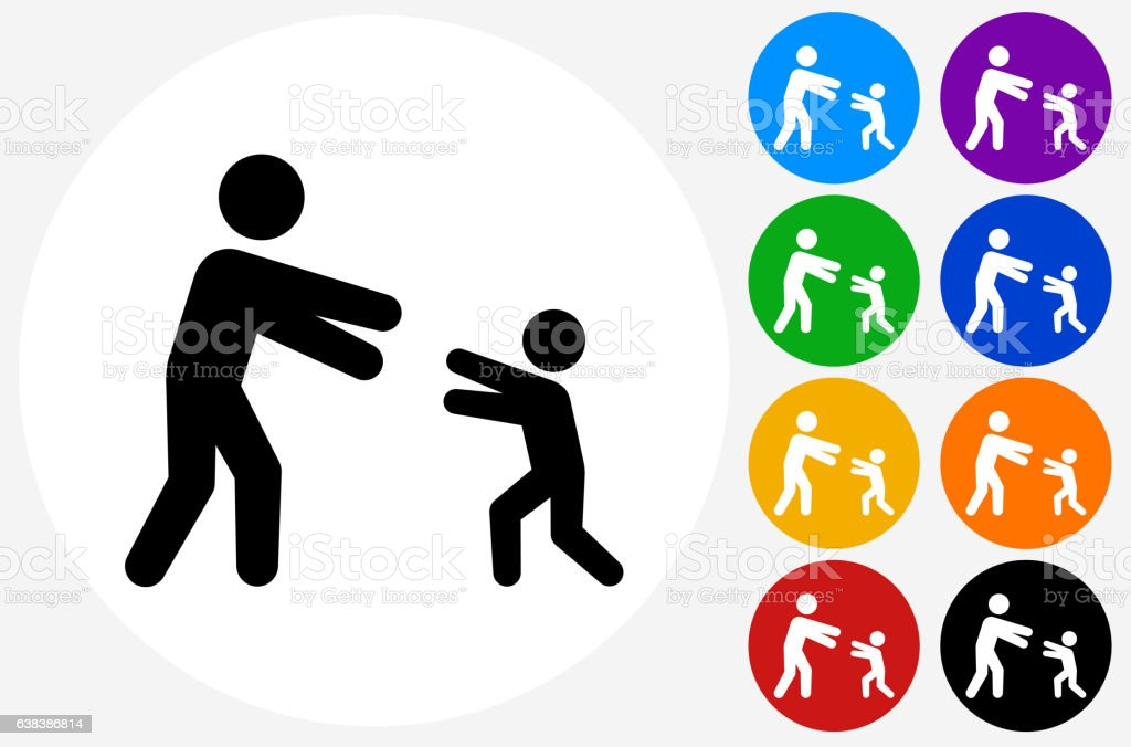 Reunited Family Icon on Flat Color Circle Buttons vector art illustration