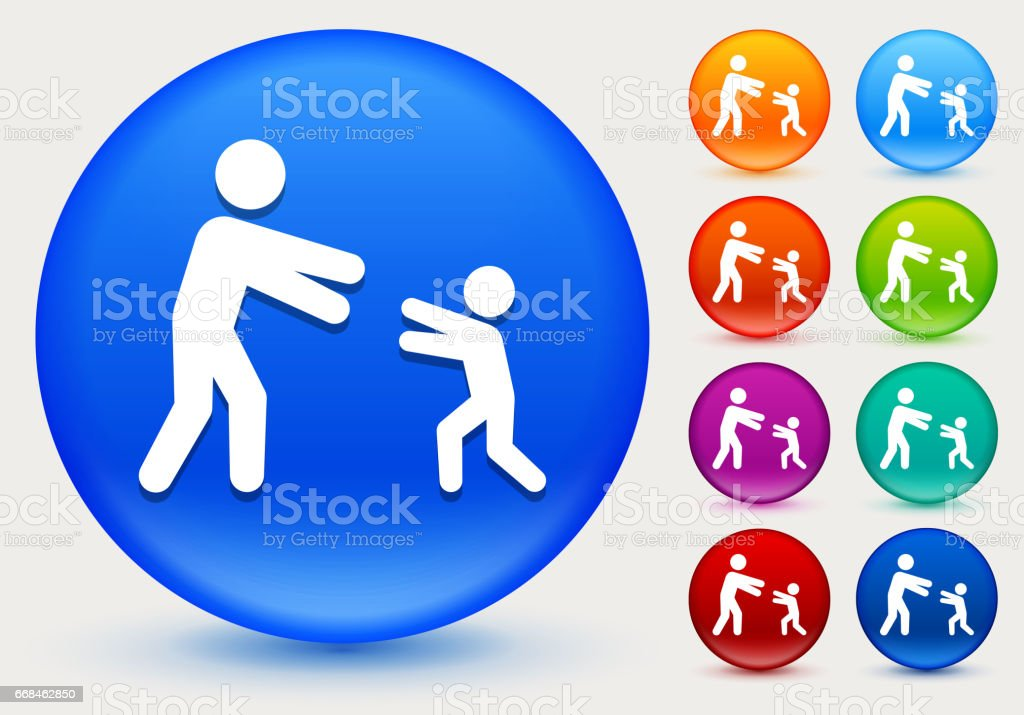 Reunited Family Icon on Shiny Color Circle Buttons vector art illustration