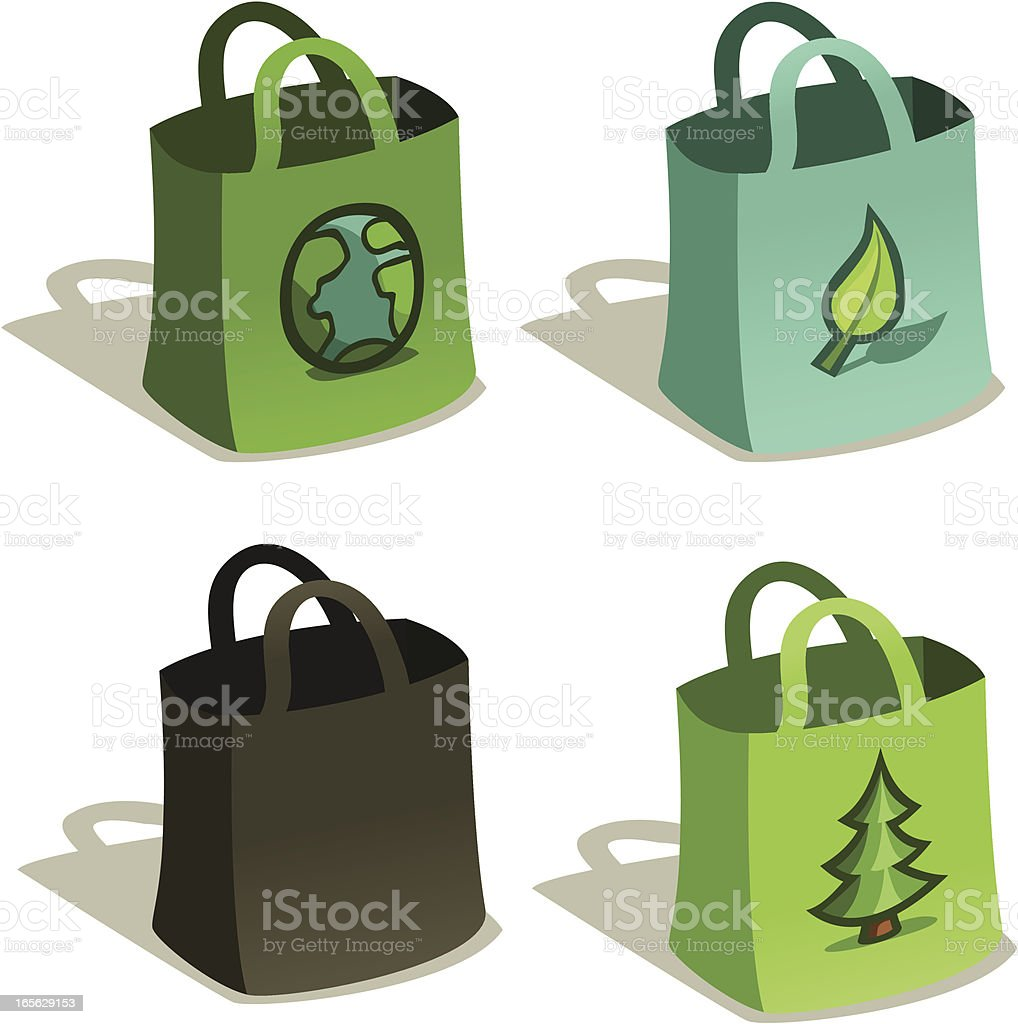 Reusable Bags for Grocery Shopping in Blue & Green, Vector vector art illustration