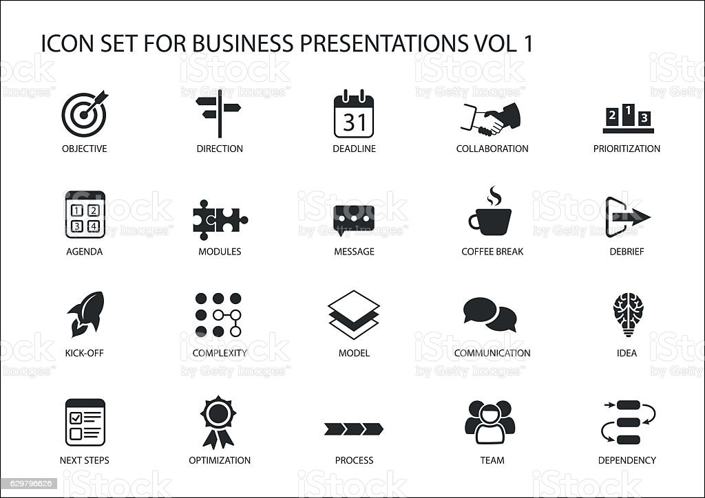 Reusable generic vector icon set for business presentations and slides vector art illustration