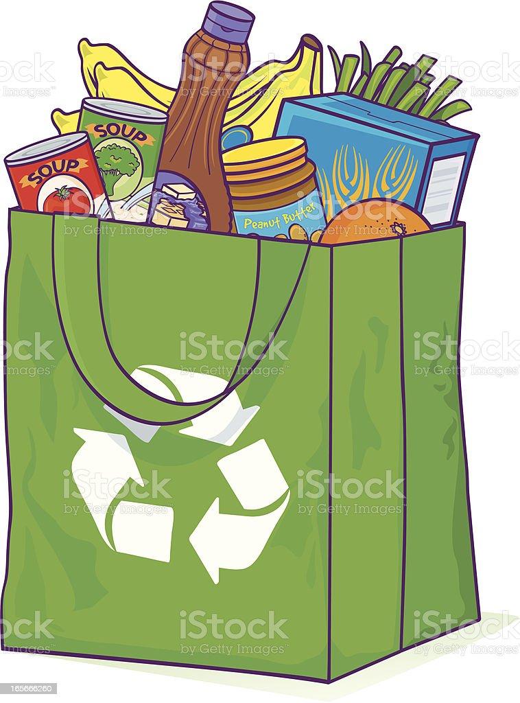 Reusable Grocery bag vector art illustration