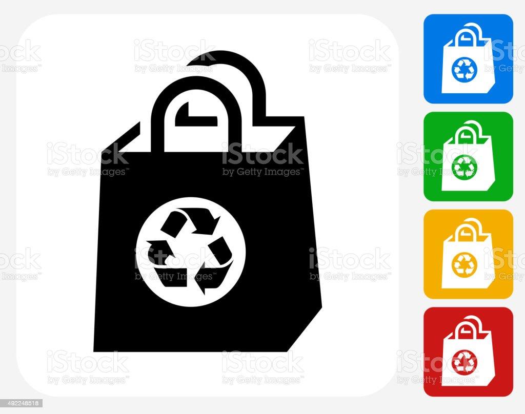 Reusable Shopping Bag Icon Flat Graphic Design vector art illustration