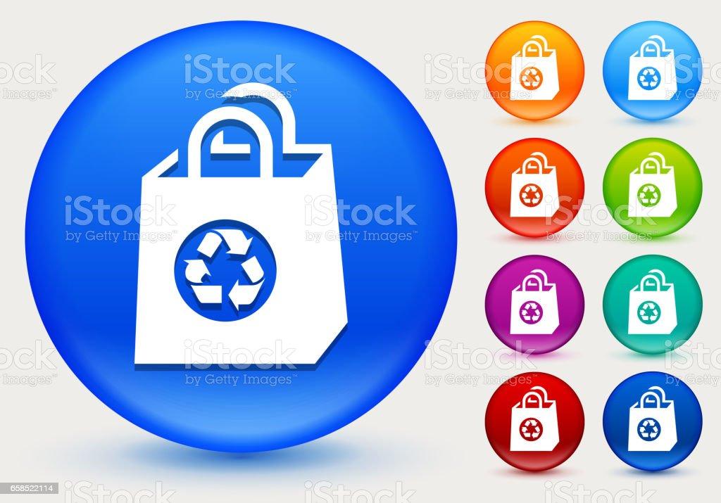 Reusable Shopping Bag Icon on Shiny Color Circle Buttons vector art illustration