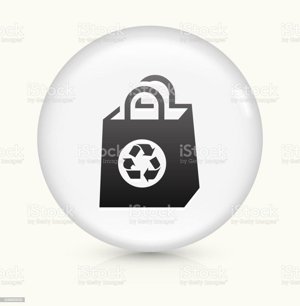 Reusable Shopping Bag icon on white round vector button vector art illustration