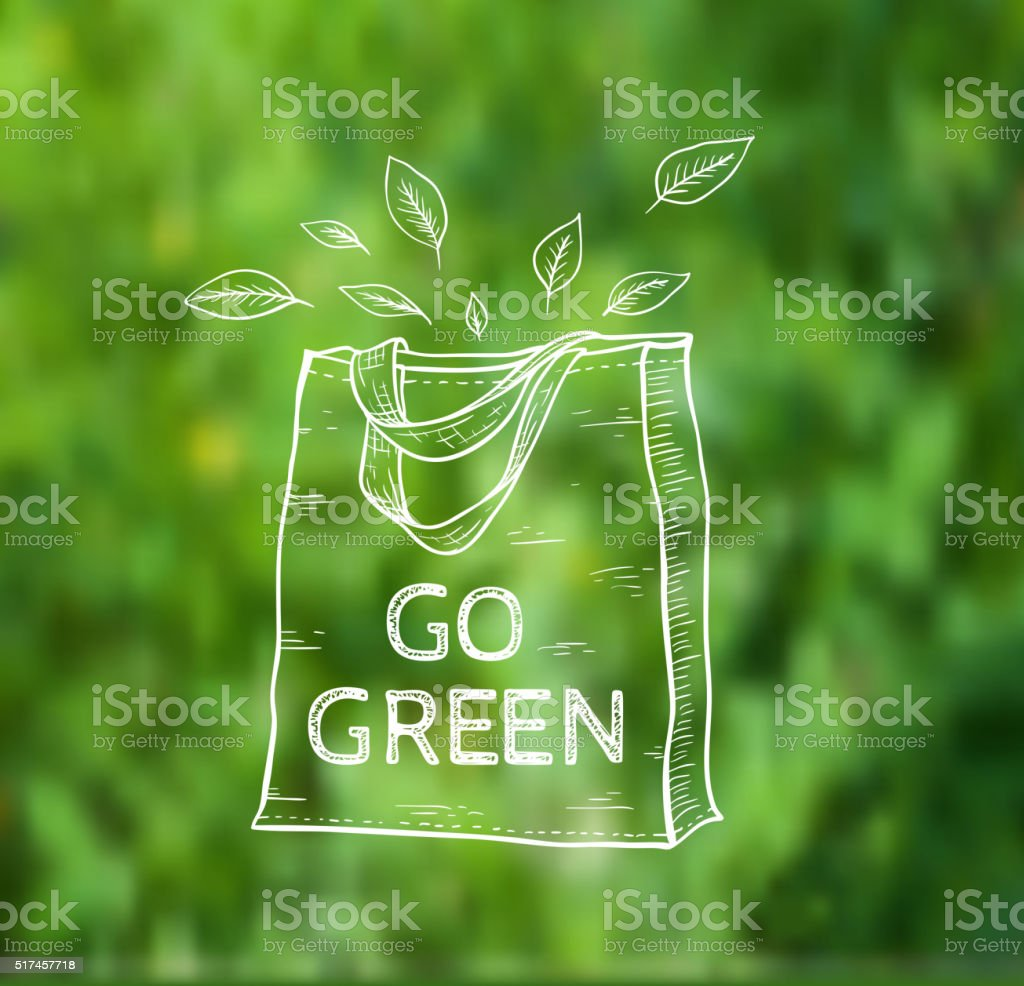 Reusable shopping bag vector art illustration